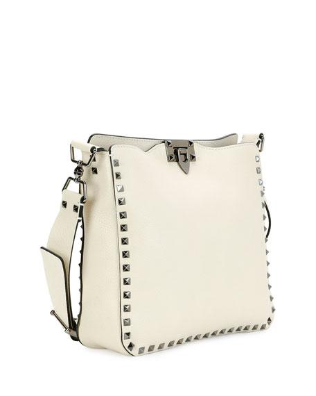 Rockstud Medium Flip-Lock Hobo Bag, Ivory