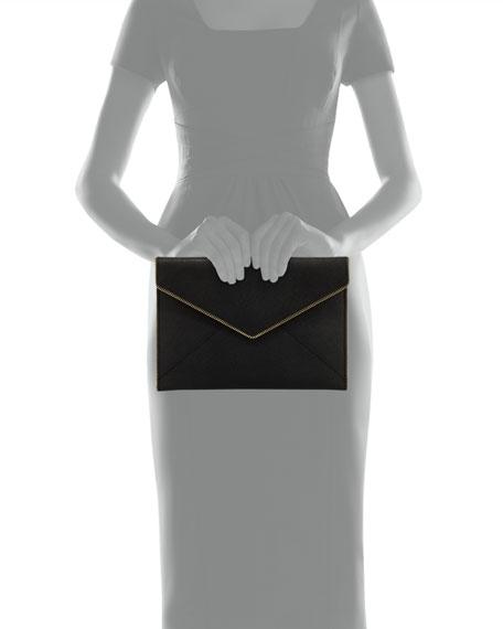 Leo Saffiano Clutch Bag, Black