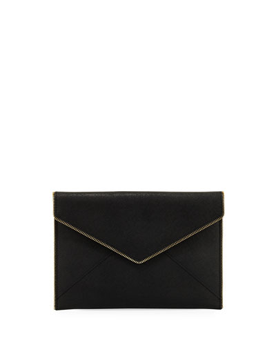 Rebecca Minkoff Leo Saffiano Clutch Bag, Black
