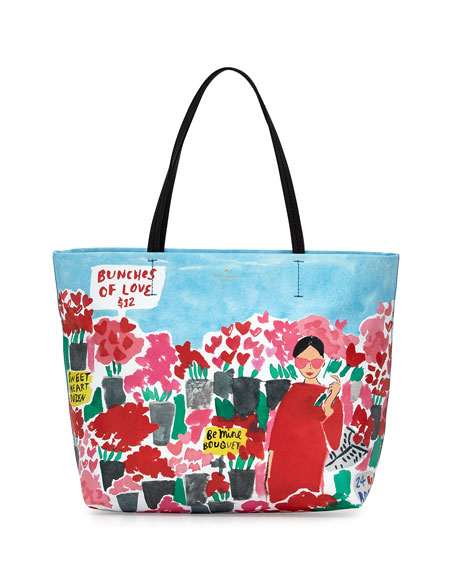 be mine hallie rose market tote bag, multicolor