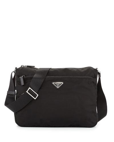 Large Nylon Crossbody Bag  Black (Nero)