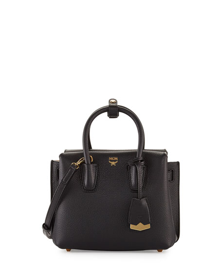 MCM Milla Mini Leather Tote Bag, Black