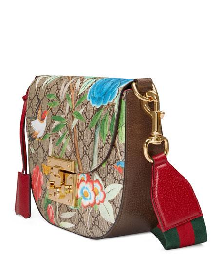 Padlock Gucci Tian Saddle Bag, Brown