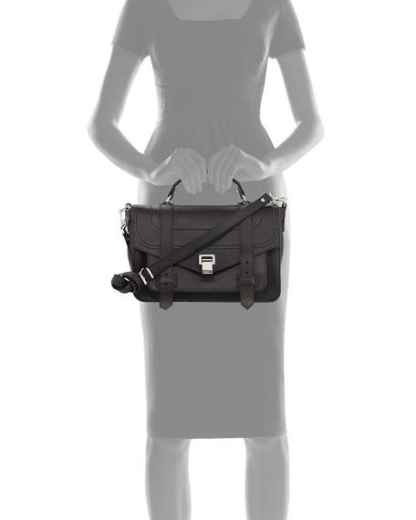 Proenza Schouler PS1+ Medium Leather Satchel Bag, Black