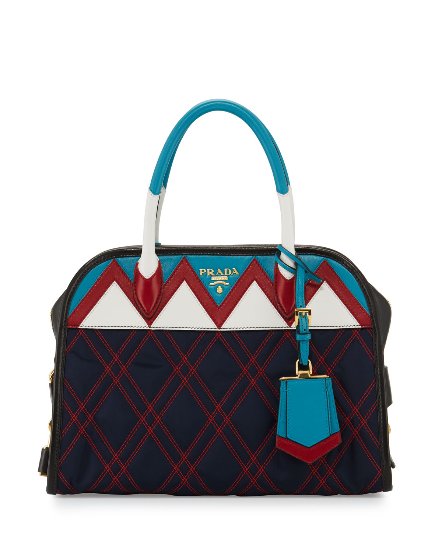 3deba59e2efc Prada Tessuto Impunturato Satchel Bag | Neiman Marcus