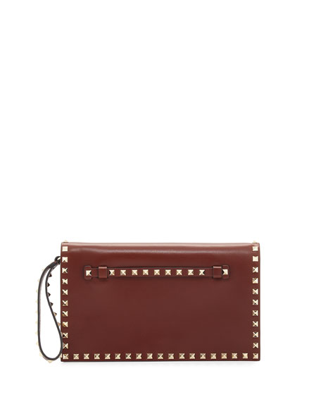 Valentino Rockstud Medium Flap Wristlet Clutch Bag, Light Pink