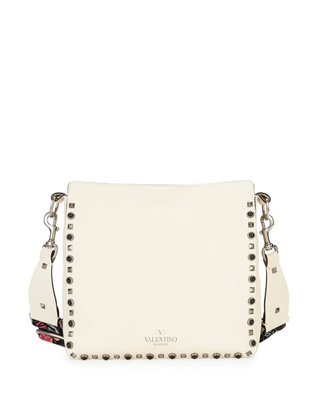 Rockstud Rolling Small Flip-Lock Hobo Bag, Ivory