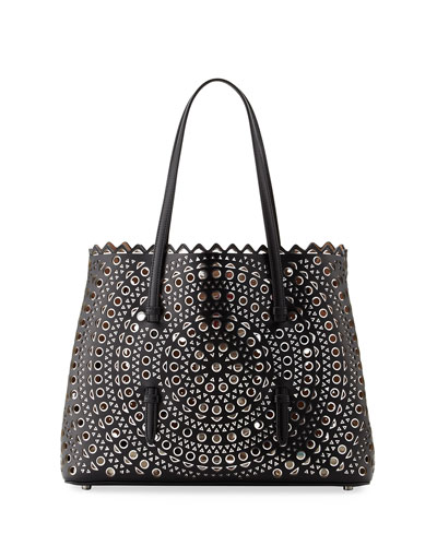 Vienne Classic Laser Cut Mini Tote, Black/Gray