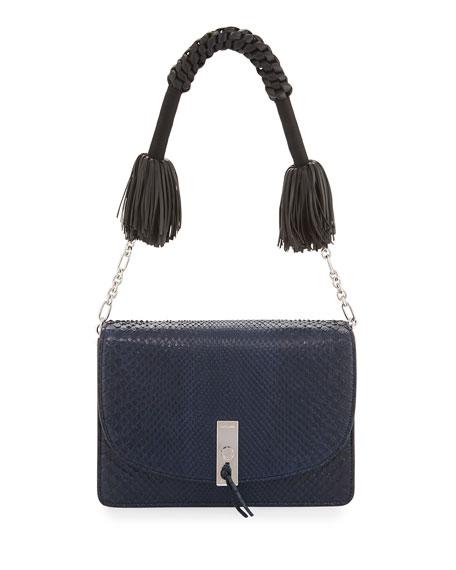 Ghianda Python Shoulder Bag, Navy