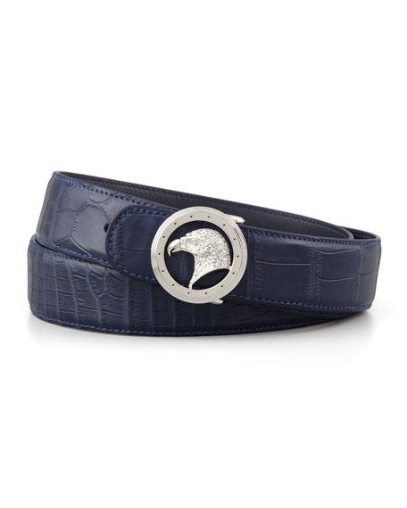 Eagle Buckle Crocodile Belt, Blue