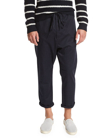 Vince Drop-Rise Cropped Drawstring Pants, Navy