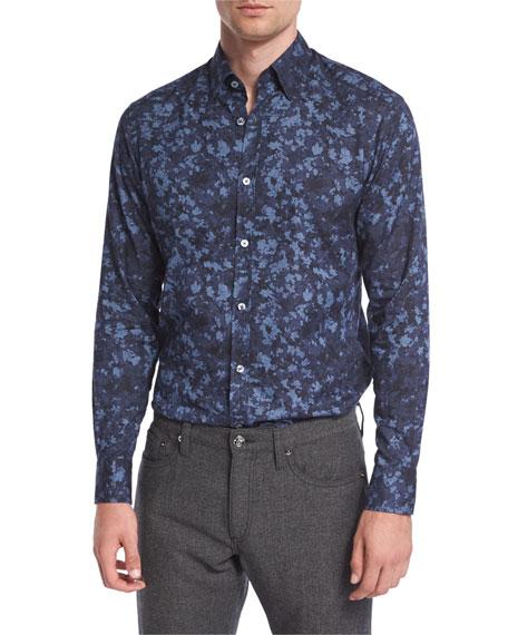 Ermenegildo Zegna Autumnal Print Sport Shirt, Blue
