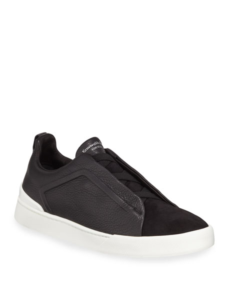 Couture Triple-Stitch Leather & Suede Low-Top Sneaker, Black