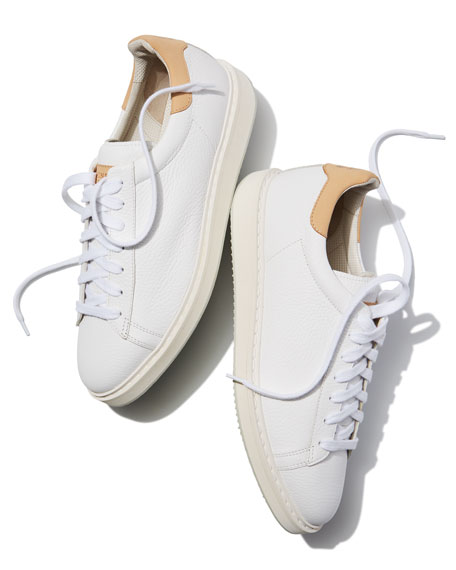 Men's Leather Sneakers, White