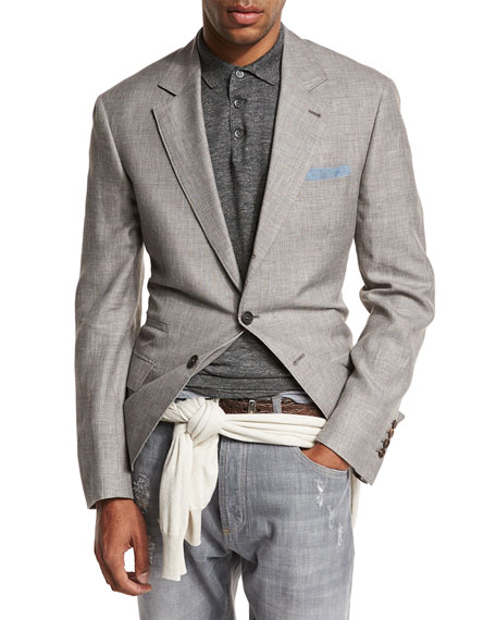 Brunello Cucinelli Prince of Wales Wool-Blend Sport Coat,