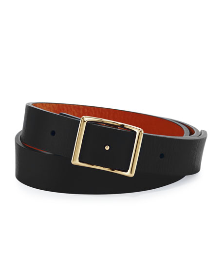 Reversible Leather Belt Boxed Gift Set, Black/Bourbon