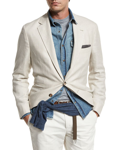 Image 1 of 3: Three-Button Textured Linen-Blend Traditional Blazer