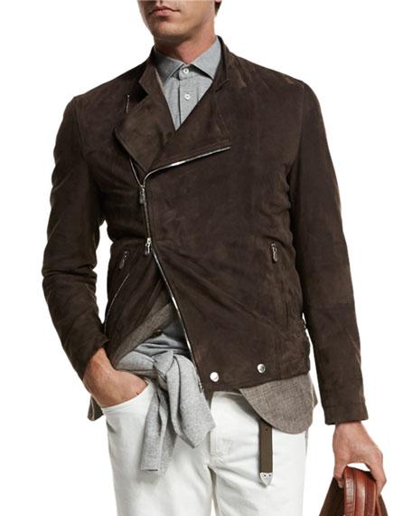 Brunello Cucinelli Asymmetric-Zip Suede Moto Jacket, Brown