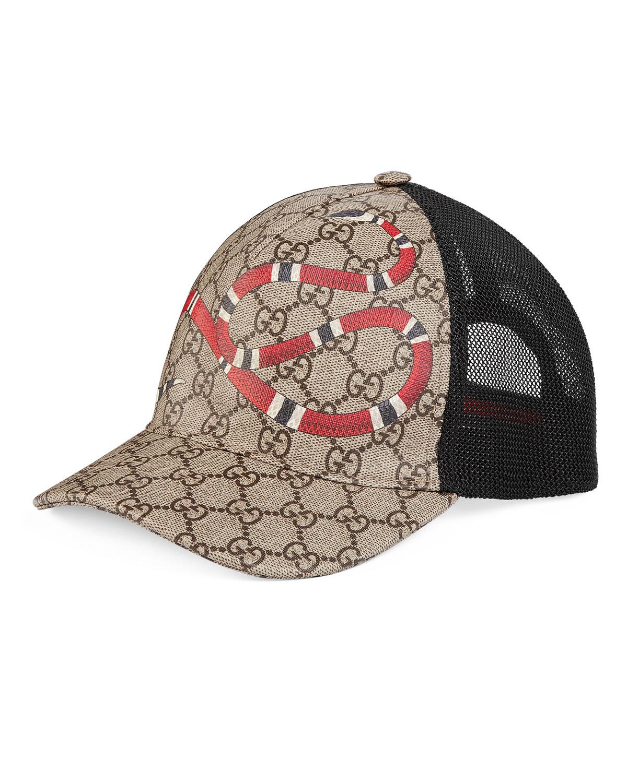 bff16fda53c3 Gucci Snake-Print GG Supreme Baseball Hat