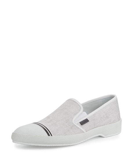 Prada Denim Cap-Toe Slip-On Sneaker, White (Bianco)
