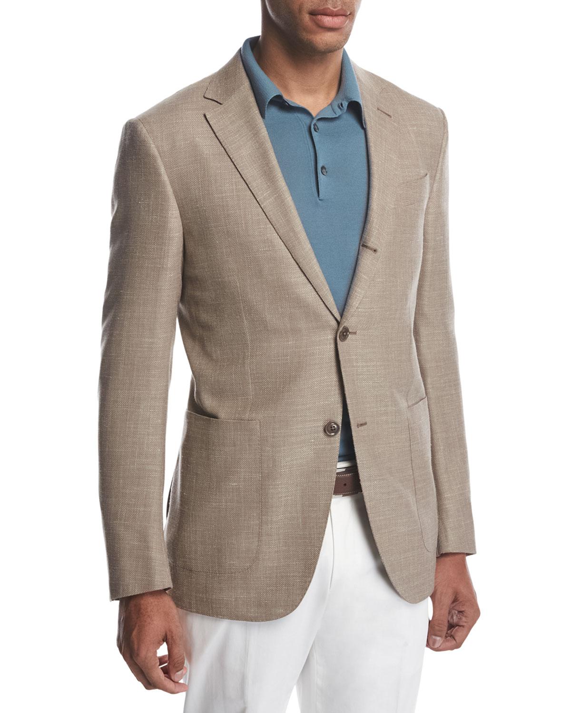 161cb4c3 Three-Button Wool-Silk-Linen Blazer, Tan