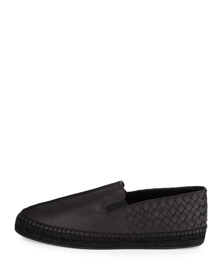 Men's Leather Intrecciato Espadrille Flat, Black