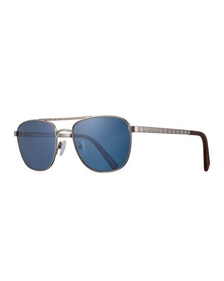 Ermenegildo Zegna Titanium Double-Bar Aviator Sunglasses, Silver