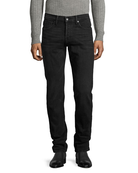 Slim-Fit Denim Jeans, Worn Black