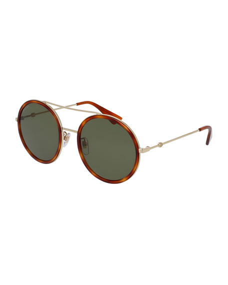 Gucci Round Acetate-Trim Metal Sunglasses, Light Tortoiseshell