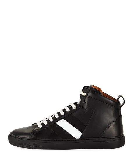 Men's Vitello High-Top Sneakers with Trainspotting Stripe, Black