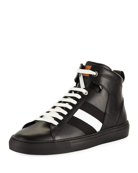 Bally Vitello High-Top Sneaker with Trainspotting Stripe, Black