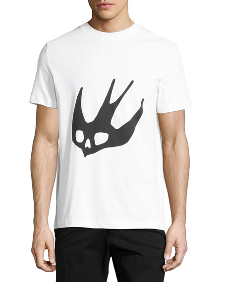 mcq alexander mcqueen swallow logo crewneck t shirt optic white neiman marcus swallow logo crewneck t shirt optic white