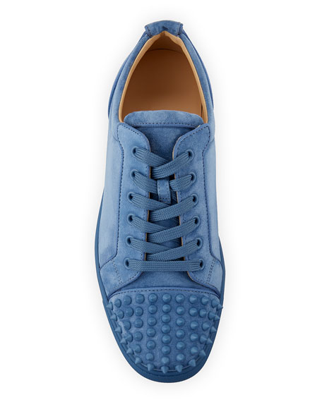 Christian Louboutin Men's Louis Junior Suede Spiked Low-Top Sneakers