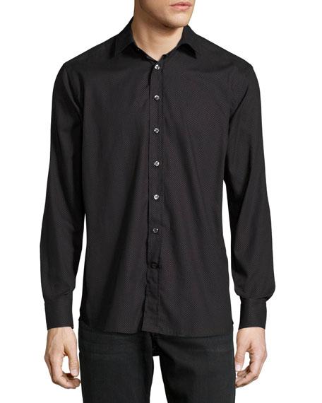 Dot-Print Cotton Shirt, Black