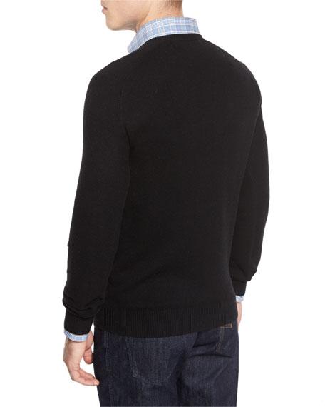 Mixed-Textured Crewneck Sweater