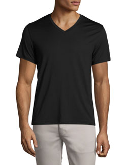 Theory V-Neck Silk-Cotton Tee