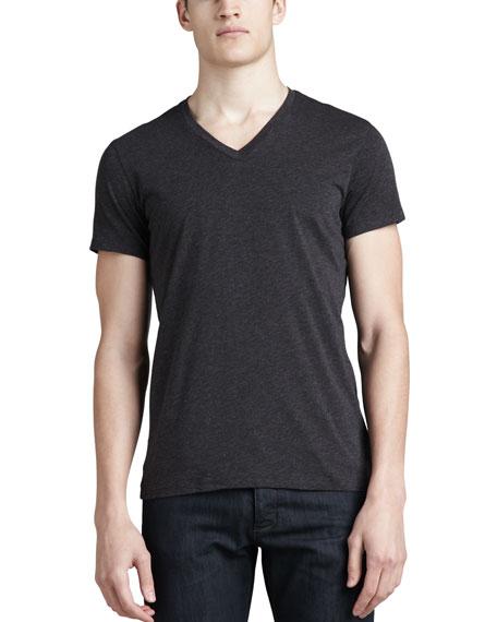 Theory V-Neck Silk-Cotton T-Shirt, Charcoal
