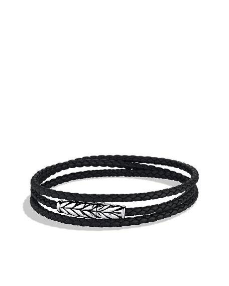 Chevron™ Wrap Bracelet, Black Leather