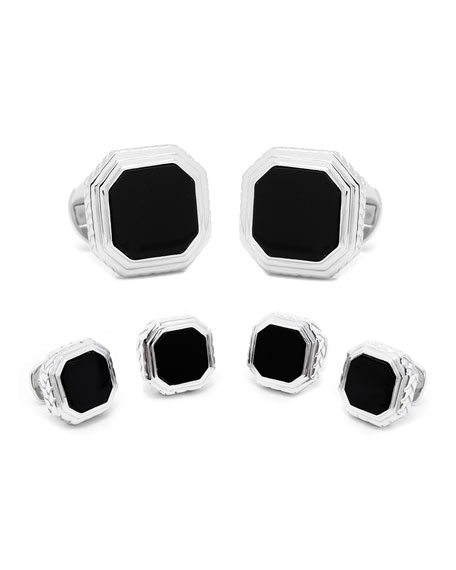 Onyx Opus Cuff Links & Stud Set