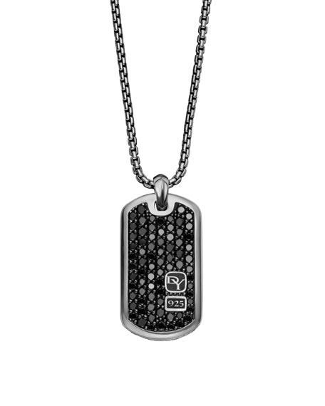 "Tag Necklace, Pave Black Diamonds, 22""L"