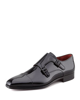 Magnanni for Neiman Marcus Patent Double-Monk Loafer