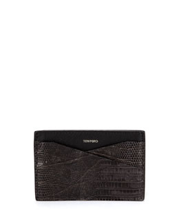 Tom Ford Lizard Card Case, Dark Gray