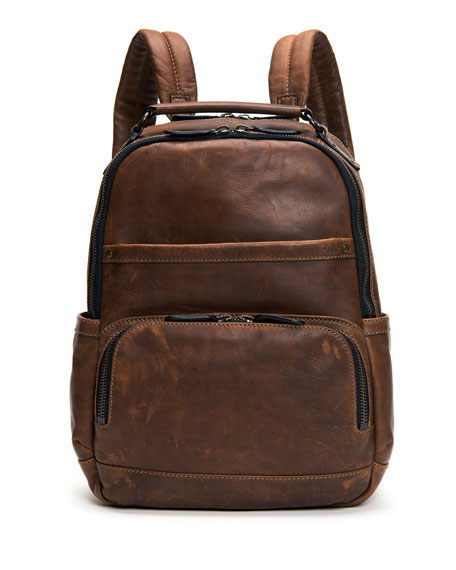 FryeLogan Men's Leather Backpack, Dark Brown