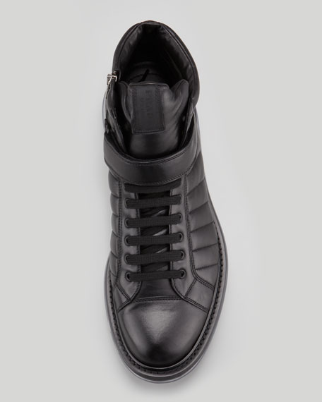 Levitate Quilted Leather High-Top Sneaker, Black