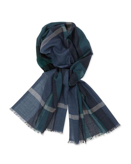 Wool-Silk Blend Gauze Scarf, Steel Blue Check
