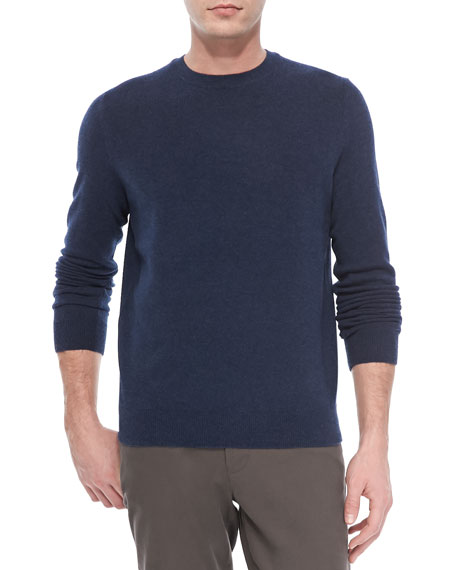 Cashmere Long-Sleeve Crewneck Sweater, Blue
