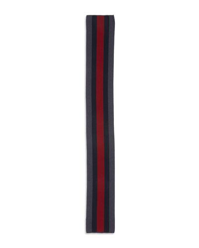 Striped Wool Crook Scarf, Blue