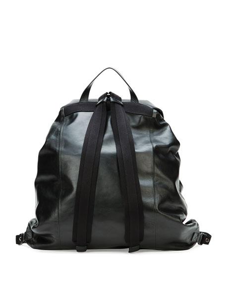 Bottega Veneta Men's Woven Leather Backpack, Black