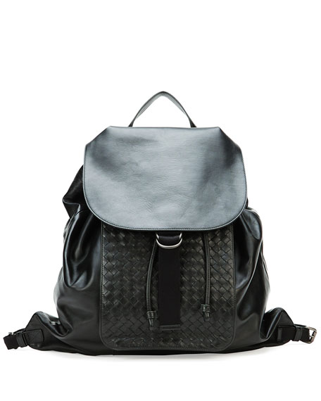 Bottega VenetaMen's Woven Leather Backpack, Black