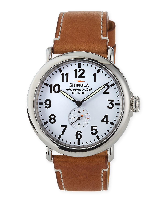 c068b9ab5 Shinola Men's 41mm Runwell Watch, Dark Brown/Cream   Neiman Marcus